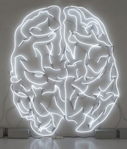 Giant Neon Brain Sculpture