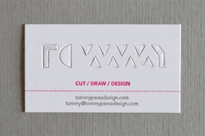 Tommy Perez Pop-up business card (before)