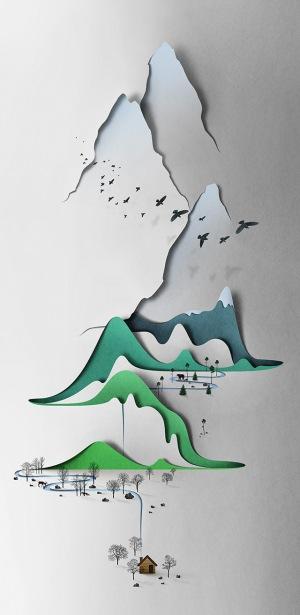 Vertical landscape - Paper-cut - Eiko Ojala