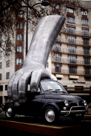Lorenzo Quinn's Vroom Vroom Sculpture Is Installed On Park Lane