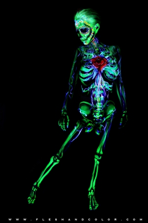 uv bodypainting -dayofthedead (green)