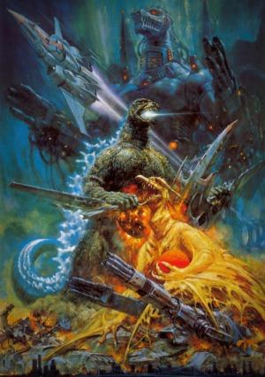 Godzilla vs MechaGodzilla vs a Pteradon