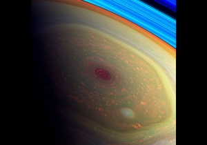 The hexagonal storm vortex at Saturn's north pole